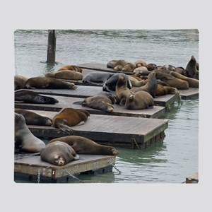 seals at fishermans wharf Throw Blanket